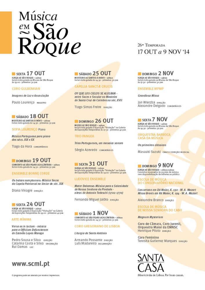 26ª Temporada De Música Em São Roque | 17 Out A 9 Nov '14 | Programa